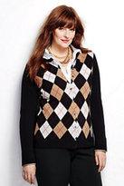 Classic Women's Plus Size Cashmere Argyle Cardigan Sweater-Nautical Red