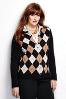 Lands' End Women's Plus Size Cashmere Argyle Cardigan Sweater-Black/Ivory Argyle