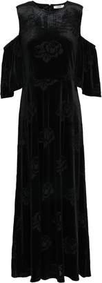 Ganni Bloomsbury Cold-shoulder Devore-satin Maxi Dress