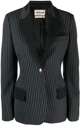 Roberto Cavalli pinstriped single button blazer