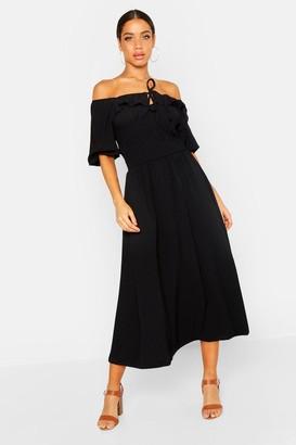 boohoo Off Shoulder Smocked Waist Maxi Dress