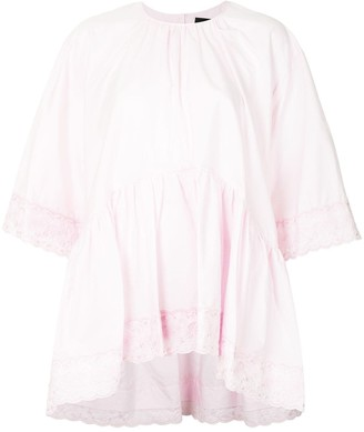 Simone Rocha Lace-Trim Oversized Cotton Shirt