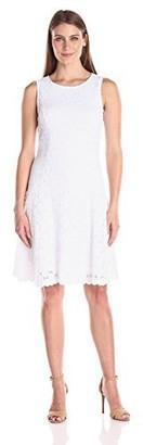 Tiana B Women's Sleeveless Circle Crochet Lace Dress with High Neck with Princess Seams and Scalloped Hem
