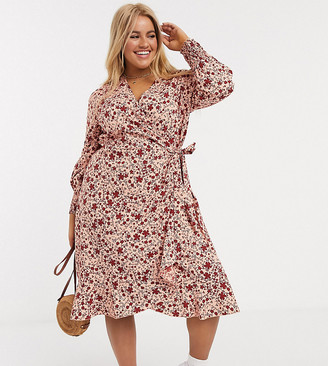 Simply Be wrap dress with frill in floral print