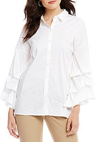 Antonio Melani Ruffle Button Front Blouse