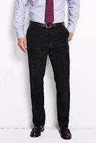 Lands' End Men's Plain Front Tailored Fit 10-wale Corduroy Trousers-Pale Dewdrop Scenic Print