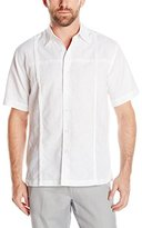 Cubavera Men's Short Sleeve Cross Chest and Panel Tucking Woven Shirt