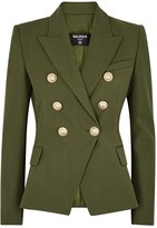 Balmain Army green double-breasted blazer