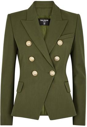 Balmain Army green double-breasted blazer