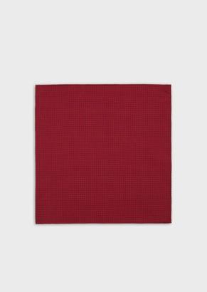Emporio Armani Silk Pocket Square With Jacquard Monogram