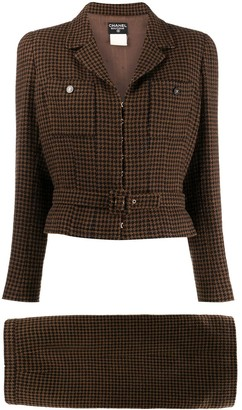 Chanel Pre Owned 1998 Checked Skirt Suit