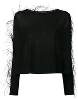Antonio Berardi feather trim knitted top - women - Rayon - 46