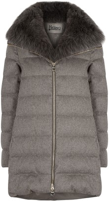 Herno Taupe Quilted Silk-blend Coat
