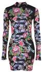 **iridescent snake long sleeve bodycon dress by jaded london