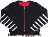 Junior Gaultier Wool Felt & Cotton Knit Zip-Up Sweater