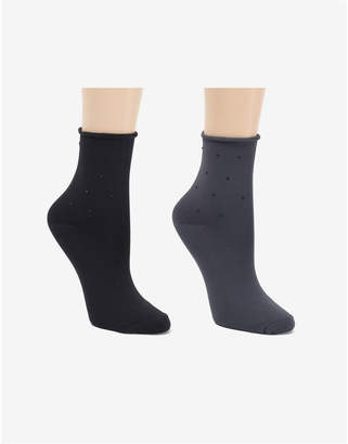 Donna Karan Soft Microfiber 2 Pc Demi Crew Dress Sock