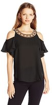 Amy Byer A. Byer Women's Short Flutter Sleeve Cold Shoulder Top with Scoop Neck Trim