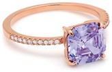 Crislu Micro Pave Rose Gold Amethyst Collection Ring