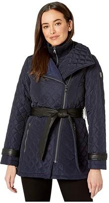 Vince Camuto Belted Quilt V29703 (Navy) Women's Coat