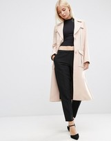 Asos Bonded Trench in Midi Length with Belt Loop detail