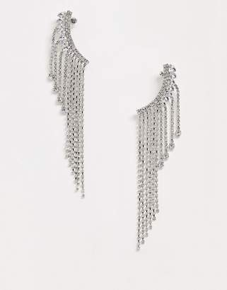 Asos Design DESIGN ear crawlers in crystal with strand drops in silver tone