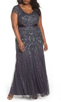 Adrianna Papell Plus Size Women's Beaded V-Neck Gown
