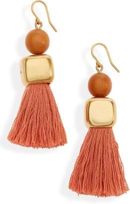 Madewell Wooden Bead Tassel Earrings