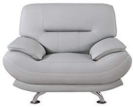 American Eagle Furniture Mason Upholstered Leather Armchair with Added Base Support and Pillow Top Armrests