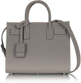 Saint Laurent Gray Leather Classic Nano Sac de Jour Bag