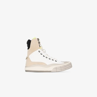 Chloé White and grey suede and canvas high top sneakers