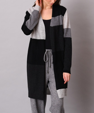 Colour Works by In Cashmere Women's Cardigans Grey - Gray & Black Color Block Cashmere Open Cardigan - Women