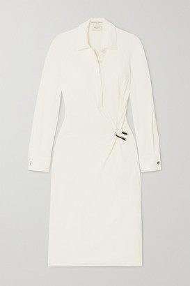 Bottega Veneta Embellished Ruched Stretch-jersey Midi Dress - White
