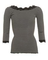 Rosemunde Womens Babette Black Ivory Striped Knitted Lace Top
