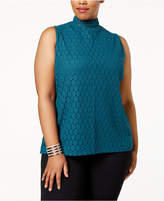 Charter Club Plus Size Mock-Neck Lace Top, Created for Macy's