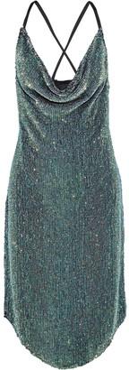 retrofete Melissa Draped Sequined Chiffon Dress