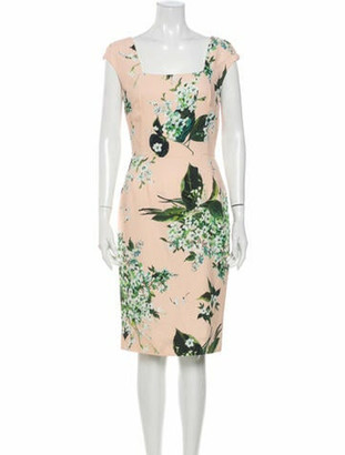 Dolce & Gabbana Floral Print Knee-Length Dress w/ Tags Pink