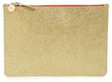 Clare Vivier Glitter Leather Zip Clutch - Metallic