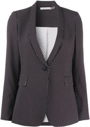 Alice + Olivia Polka-Dot Print Fitted Blazer