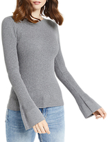 Oasis Rib Crew Fluted Sleeve Knit Top, Mid Grey