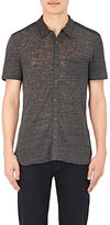 John Varvatos Men's Linen Short-Sleeve Shirt-GREY