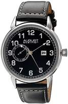 August Steiner Men's AS8182SSB Silver Multifunction Quartz Watch with Black Dial and Black with White Stitching Leather Strap