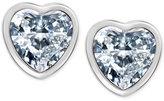 T Tahari Silver-Tone Crystal Heart Stud Earrings