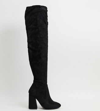 ASOS DESIGN Wide Fit Keeper heeled thigh high boots in black