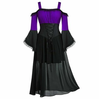 KPILP Womens Gothic Dress Long Sleeve Off Shoulder Bandage Slim fit Vintage Cosplay Mesh Layered Steampunk Retro Fashion Evening Party Elegant Maxi Dress(Purple L)