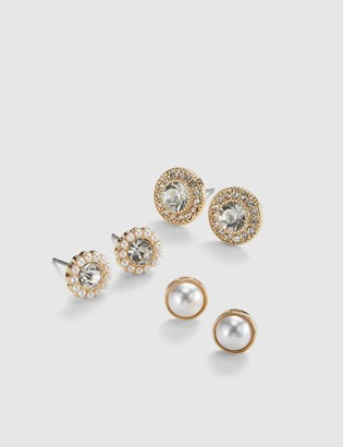 Lane Bryant Stud Earrings 3-Pack - Pearlescent & Faceted Stone