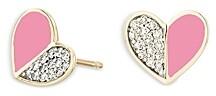 Adina Reyter 14K Yellow Gold Ceramic Folded Hearts Diamond & Pink Ceramic Stud Earrings