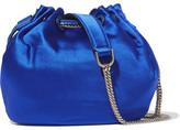 Diane von Furstenberg Love Power Mini Leather-trimmed Satin Bucket Bag - Blue