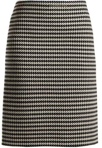 Balenciaga Checked Wool Blend Pencil Skirt - Womens - Black White