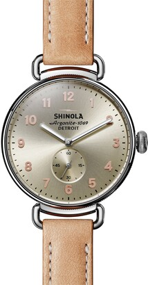 Shinola Women's Canfield Sub Second Natural Leather Strap Watch, 38mm