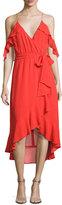 Nicholas V-Neck Georgette Ruffled Wrap Dress, Red